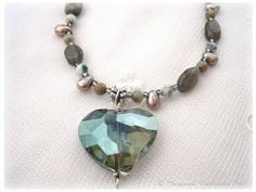 Green Swarovski Crystal Heart Pendant by Labradorite, Moss Agate and tree Agate for Earth Lovers, gardener, Heart Chakra... InspiredCreationsInc, $67.99
