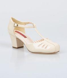 1920s style T-strap wedding shoes : Cream Patent Cut Out Robbie T-Strap Pumps $58.00 AT vintagedancer.com