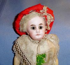 """8"""" German Belton Type Closed Mouth Christmas Bisque Head Doll"""