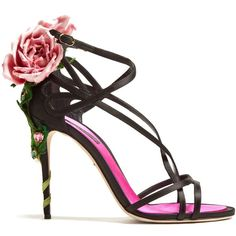 Dolce & Gabbana Rose-heel satin sandals ($1,975) ❤ liked on Polyvore featuring shoes, sandals, stiletto sandals, floral shoes, black sandals, black stilettos and rose pink shoes