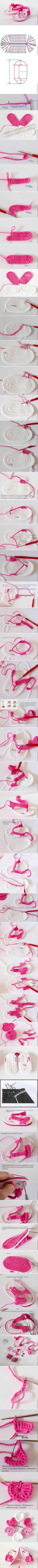 Sandalia en crochet para bebé, con patrón.: