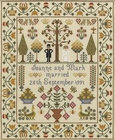 An attractive and colourful sampler with traditional motifs and personalised with the couple's names and date of marriage.