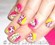 Love4NailArt: Neon Leopard Nail Art For Short Nails