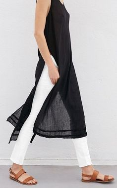 White leggings and black tunic