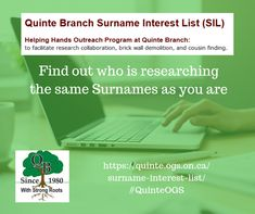 Surname Interest List - see who is researching the same surnames as you. Helping Hands, Surnames, Family History, Research, Genealogy, The Unit, Search, Exploring