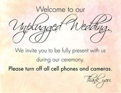 Pro Insight: How To Have An Unplugged Wedding Ceremony - Wedding Day Pins : You're Source for Wedding Pins! Wedding Types, Wedding Pins, Wedding Beauty, Wedding Images, Wedding Trends, Wedding Ceremony, Our Wedding, Reception, Unplugged Wedding Sign