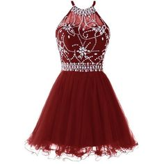 Musever Women's Halter Short Homecoming Dress Beading Tulle Prom Dress (160 BRL) ❤ liked on Polyvore featuring dresses, short beaded cocktail dresses, homecoming dresses, short cocktail dresses, red halter dresses and halter cocktail dress