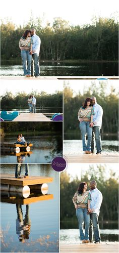 Cute engagement pictures on a dock