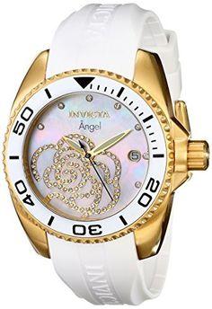 Invicta Women's 0488 Angel Gold-Tone Watch with White Polyurethane Band, http://www.amazon.com/dp/B004IAFDMS/ref=cm_sw_r_pi_awdm_xs_3S0mybC32J6B3