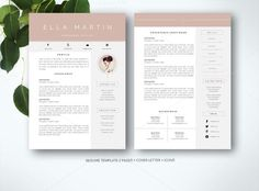 Resume Template for MS Word by Fortunelle Resumes on Creative Market Modern Resume Template, Resume Template Free, Creative Resume Templates, Design Templates, Templates Free, Cover Letter For Resume, Cover Letter Template, Letter Templates, Business Brochure
