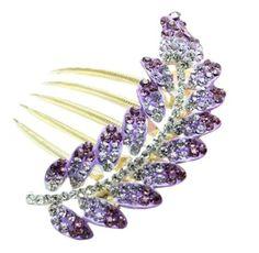 Purple Sparkle Leaf Hair Clip