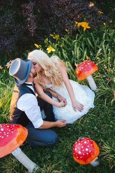 Victorian Steampunk Alice in Wonderland DIY whimsical rustic fairytale mushroom garden Wedding