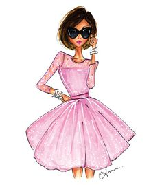 Fashion Illustration The Pink Dress Print por anumt en Etsy