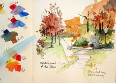 Autumn by Cathy Johnson art journal sketchbook