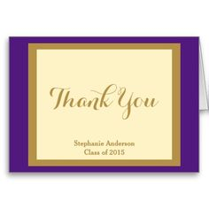 Graduation Thank You Notes, Purple & Gold; Personalized with Graduate's Name, and Class of xxxx