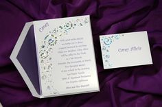 Bat Mitzvah Invitations by The Purple Mermaid~This invitation is a dazzling way to invite your guests to your Bat Mitzvah! The coated bright white card is decorated in swirls, confetti and Stars of David with prismatic foil. Your name is featured at the top