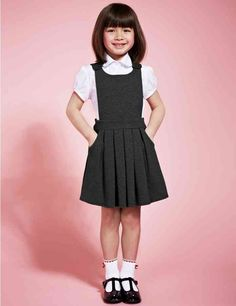 Girls' Cotton Rich Adjustable Waist Knitted Pinafore with Bib Feature Blush Flower Girl Dresses, Cute Little Girl Dresses, Dresses Kids Girl, Girl Outfits, School Uniform Outfits, Cute School Uniforms, Kids Uniforms, School Girl Dress, School Dresses