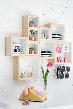 déco-chambre-ado-fille-faire-soi-même- étagère-murale-bois