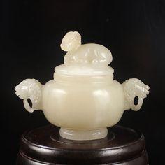 Hand Carved Chinese Natural Hetian Jade Sheep Head Incense Burner w Sheep Lid