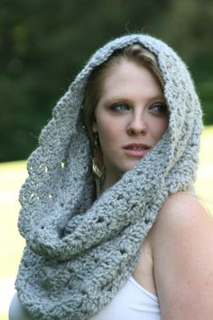 Gray 100 Baby Alpaca Hand Crocheted Chunky Cowl by crochetgallery,