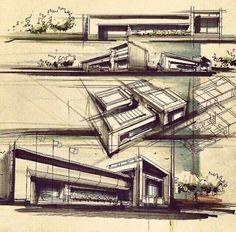 By hossein mosavi Chinese Architecture, Architecture Drawings, Futuristic Architecture, Architecture Details, Landscape Architecture, Interior Architecture, Interior Design, Building Sketch, Famous Architects