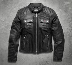 e3e2e5237075e Harley-Davidson Women s Quilted Coated Denim Riding Jacket Retro Motorcycle
