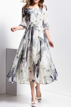 Borme Light Gray Ink Print Round Neck Midi Dress | Midi Dresses at DEZZAL