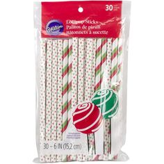 Wilton 1912-6000 Holiday Colored Lollipop Sticks, Red and Green Stripe * Details can be found by clicking on the image.
