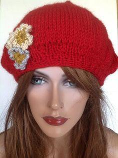 Hand Knit Beanie Beret Slouch Hat Designer by HANDKNITS2LOVE