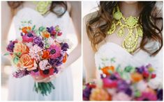 bold wedding bouquet with pink/purple/orange anemones, roses, and ranunculus + neon statement necklace // Summer Wedding Inspiration by Byron Loves Fawn Photography