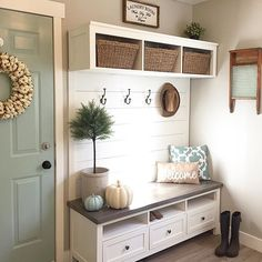 We have a small laundry/mudroom, but every time I walk in here now that we renovated it by taking out our ginormous closet and giving our ikea media unit a hack, I can't help but smile . Hope you all have a happy Tuesday! Door colour Benjamin Moore Wythe Blue, Wall colour Sherwin Williams Agreeable Grey #ikeahack . . . #mudroom #laundryroom #organization #falldecor #bluedoor #entryway #shiplap #halltree #entrywaydecor #entryideas #mudroommakeover #bench #woodworking #diyhome #ikea #farm...