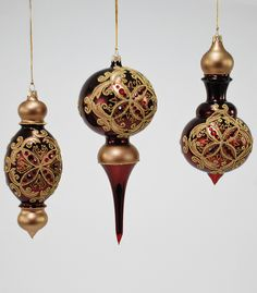 """Katherine's Collection A Christmas Journey Christmas Collection Set Six Assorted 7"""", 8"""" 9"""" Baroque Cupola Glass Ornaments Free Ship"""