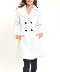 Take a look at this White & Black Wool-Blend Trench Coat by Zac Studio on #zulily today!