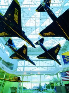 See more than 150 historic aircraft on display at the National Naval Aviation Museum in Pensacola, Florida! Military Jets, Military Aircraft, Blue Angels Practice, Water Park Rides, Us Navy Blue Angels, Air Force, Pensacola Florida, Fire Trucks, American History