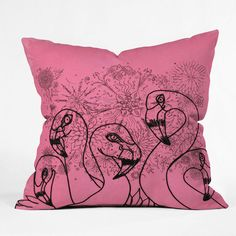 DENY Designs Home Accessories | Lisa Argyropoulos Pink Flamingos Throw Pillow