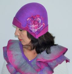 Felted SET ruffle scarf and cloche Hat with FLOWERS by GraceBits