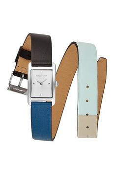 3679790ab33 Moment Silver Tone Black And Mint Leather Watch