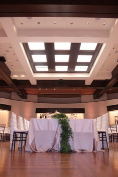 The skylight makes a great focal point in our ball room for your reception!
