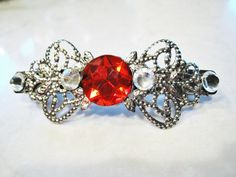 Silver filigree bow shaped hair clip barrette by LindasAccessories