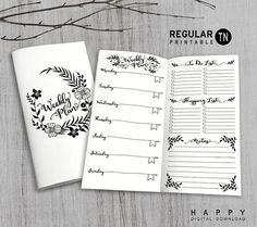 Printable Weekly Travelers Notebook Insert (Regular Size) ------------------------------------------------------------------------------------------- Size: 4.33 x 8.25 inches Format: 1 PDF