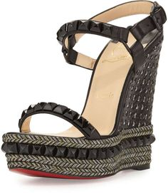 Christian Louboutin Cataclou Studded Red Sole Wedge Sandal, Black