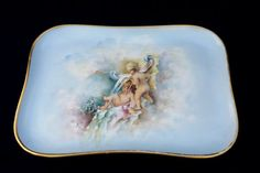 Antique - Limoges - T&V - hand-painted porcelain footed dresser perfume tray - cherubs and clouds