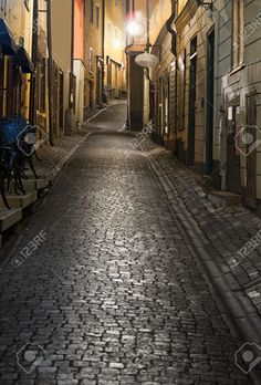 8874308-Narrow-street-in-the-old-town-of-Stockholm-at-night-Stock-Photo.jpg (880×1300)