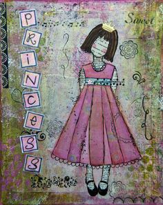 Mixed Media Original Art  Princess by BaxtersMom on Etsy, $45.00