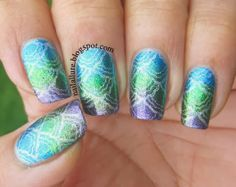 My Nail Files: Blue, Green, Purple Stamped Gradient - Tri Polish Tuesday