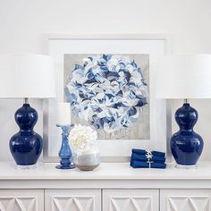 The Bronte Lamps in their deep blue hues balance perfectly our Hydrangea I print, which we have framed the medium size in silver.