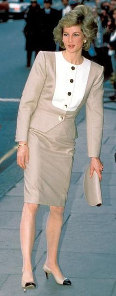April 4 1989 Diana, Patron, Help the Aged, attends the Charity's Industry and Commerce Committee Luncheon at Claridge's, Brook Street, London W1 in Mayfair.