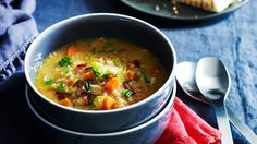Hearty bacon, lentil and vegetable soup. A nice wholesome soup.