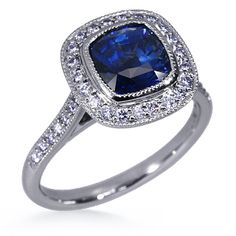 Cushion Cut Sapphire... I so want this for my upcoming anniversary... hint hint honey... honey are you listening???LOL