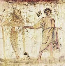 Resurrezione Lazzaro, catacomba SS. Pietro e Marcellino
